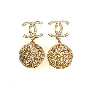 Chanel Soft Gold Tone CC Logo Detailed Ball Dangle